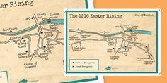 1916 Rising Dublin Map Display Poster - Easter 1916 Rising, irish history, map of dublin, display poster Dublin Map, Ireland 1916, 6 Class, Easter Rising, Outline, Irish, Presentation, Display, Teaching