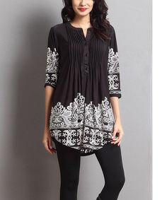 This Black Lace Print Notch Neck Tunic is perfect! #zulilyfinds