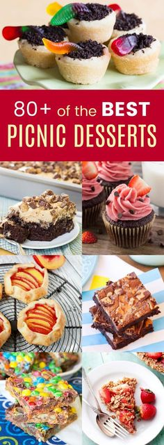 Over 80 Recipes for Picnic Desserts - all the best easy party desserts for spring and summer parties, picnics, and barbecues with recipes for brownies, bars, cakes, cupcakes, fruit desserts, and more. #cupcakesandkalechips #summerrecipes #summerdesserts #picnic #picnicrecipes #dessert #dessertrecipes via @cupcakekalechip