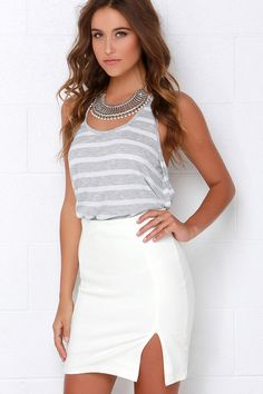 Magnetic Pull Ivory Pencil Skirt at Lulus.com!