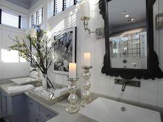 mirror...love you; beadboard, cabinet color, dark tape on blinds; hgtv.com