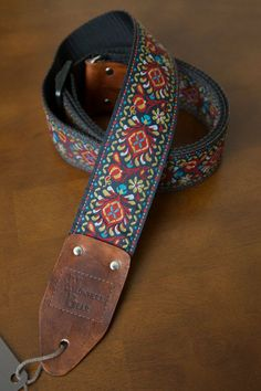 Nowhere Bear Straps by nowherebearstraps - Red/Gold/Blue Vintage-styled Guitar Strap – love!