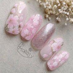 Acrylic Nail Designs, Nail Art Designs, Acrylic Nails, Mani Pedi, Manicure, Cherry Blossom Nails, Flower Nails, Beauty Nails, Pretty Nails