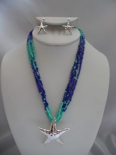 Visit: hipandcoolcliponearringstwo.com and receive up to 30% off. CLIP ON EARRING BLUE & TURQUOISE SEED BEAD STAR FISH NECKLACE SET  $17.99 http://hipandcoolcliponearringstwo.com
