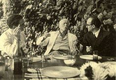 Carl Jung with Erich Neumann  (left) and Mircea Eliade (right) at the legendary table at Eranos.