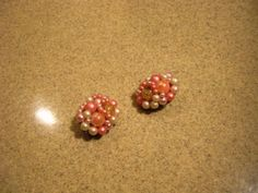 Vintage White and Pink Pearl Earrings