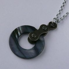 Lovely! Cycling Pendant bicycle chain circle dark grey by WanderingJeweler
