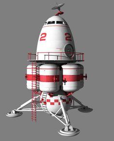 Googie Atom-age Lander by Paul-Lloyd on DeviantArt Concept Ships, Concept Cars, Kerbal Space Program, Spaceship Design, Science Fiction Art, Googie, Space Travel, Space Crafts, Retro Futurism
