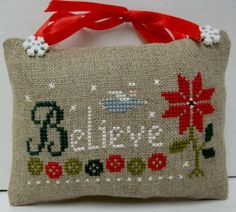 Believe Cross Stitched Christmas Ornament / by luvinstitchin4u, $14.50