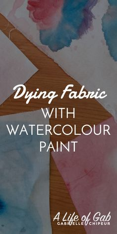 Learn how to dye fabric using watercolour paints. Easy to do and the results are colour fast and look spectacular!