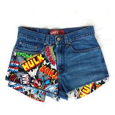 Levis Vintage High Waisted Jean Shorts Cut off Denim Super Hero Marvel Comics…