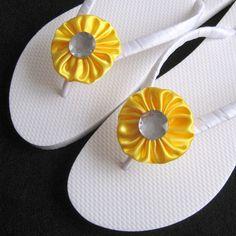 lemon yellow weddings | Lemon Yellow Bridal Flip Flops - Beach Wedding, Bridesmaid Favors ...