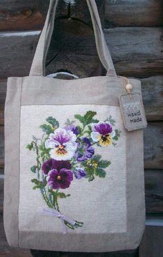 The iron-on I've got? Embroidery Purse, Rustic Fabric, Etiquette Vintage, Jute Bags, Patchwork Bags, Denim Bag, Fabric Bags, Cross Stitch Flowers, Cotton Bag