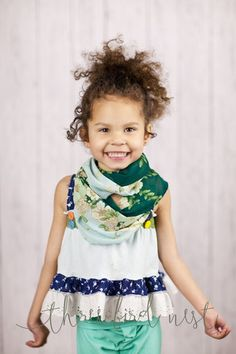 Handmade chiffon floral printed mint infinity loop for your little girl.