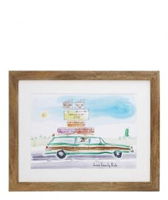 This personalized print is sure to bring back fond memories of old-time family road trips. Customize the color of the car, and then add a piece of luggage for each member of the family.