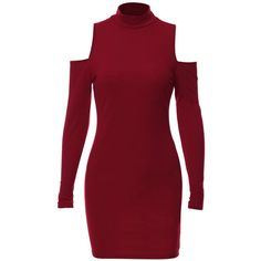 Yoins Casual High Neck Cold Shoulder Mini Dress in Burgundy ($16) ❤ liked on Polyvore featuring dresses, red long sleeve dress, long sleeve mini dress, burgundy long sleeve dress, red dress and high neck short dresses