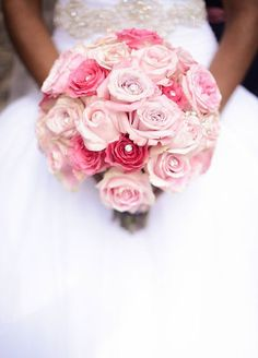 Get playful with crystals, feathers- the options are endless, as long as it's a look you love! Pink roses wedding bouquet