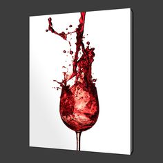 Glass of red #wine splash paining