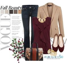 over 40 work outfits | Jeans + Pretty Top+ Jacket + Flats + Great Bag + Cool Jewelry = FAB ...just need the blazer.