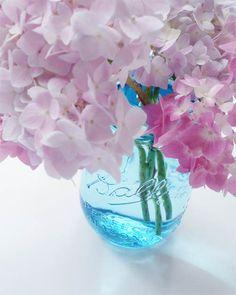 Blue Mason Jars with Hydrangeas by Such Pretty Things Blog