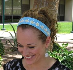 Aqua Daisy Back to School Headband by DesignsByMistyT on Etsy, $11.95