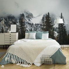 Myloview wallpaper for bedroom Bedroom Green, Small Room Bedroom, Cozy Bedroom, My Room, Dorm Room, Creative Decor, Wall Murals, Sweet Home, House Design