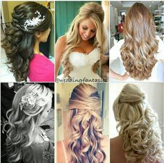 Half up half down bride hairstyle