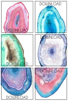 free printable watercolor agate slices from persialou.com