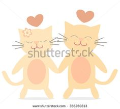 cute lovely cats in love cartoon vector romantic illustration