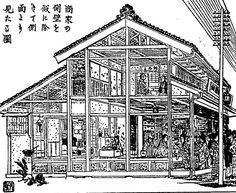 Cross sectional view of machiya in Tokyo