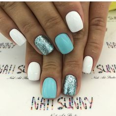 Teal and white nails Best Acrylic Nails, Summer Acrylic Nails, Acrylic Nail Designs, Shellac Nails, Toe Nails, Nail Polish, Stylish Nails, Trendy Nails, Dipped Nails