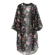 d24077d0551b5 FANALA Shirt Women 2017 Cardigan Casual Vintage Kimono Floral Print Chiffon  Three Quarter Sleeve Outwear Blouses Tops Plus Size