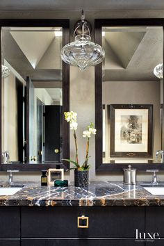 Transitional Neutral Master Bathroom with Lacquered Black Cabinetry