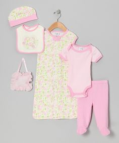 chick pea Pink Flower Seven-Piece Layette Set - Infant by chick pea #zulily #zulilyfinds