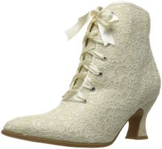 Shop a great selection of Ellie Shoes Women's Ankle Bootie. Find new offer and Similar products for Ellie Shoes Women's Ankle Bootie. White Wedding Shoes, Wedding Boots, White Leather Ankle Boots, Victorian Boots, Victorian Steampunk, Steampunk Boots, Lace Heels, Vintage Boots, Bride Shoes
