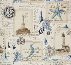 Nautical lighthouse #fabric, vintage postcard design with French writing. From Brick House Fabric.