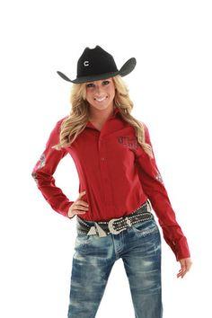 Cowgirl Tuff Western Shirt Womens L/S Western Cross Crystal Red F00131