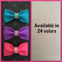Felt Bow ties for dogs/cats,bow ties for animals, bow ties set of 3, animal bow ties by LilVeniceBowtique on Etsy