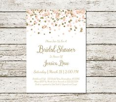 Blush Pink and Gold Bridal Shower Invitation Printable Confetti Glitter Elegant Classy Wedding Digital File Chic Simple