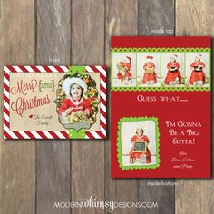 Pregnancy Announcement Christmas Card  by ModernWhimsyDesign, $70.00
