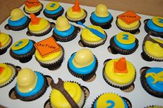 Construction Themed Cupcakes | Construction Themed 2nd Birthday Cupcakes for a Bob the Builder themed ...