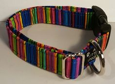 Forget what your momma told ya, stripes are in, and the colorful stripes on this collar will have your pet turning heads. All of my collars are available in XS, S, M, L, and XL sizes, and are made with high-end cotton fabric with heavy craft interfacing for structure and support and with high end welded d-rings and slides.