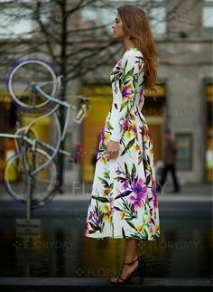 Polyester Blommor Långärmad Maxi Vintage Bröllopsklänningar (1011851) @ floryday.com
