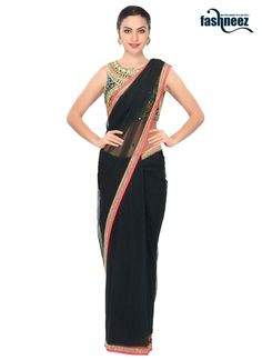 Add a small burst of colour for a wardrobe with this black net designer saree…