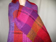 Vintage Hand Made OOAK Vividly Bright Wool Shawl by NaughtNew, $68.00