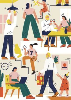 Strategies to Give Your Family Calendar a Makeover and Find Some Breathing Room — Real Simple Simple Illustration, Funny Illustration, Children's Book Illustration, Character Illustration, Graphic Design Illustration, Male Character, Fantasy Character, Character Design, Graphic Design Tutorials
