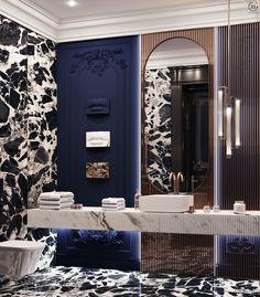Classic Interior, Home Interior Design, Jacuzzi, Powder Room Design, Blue Bath, Bathroom Design Luxury, Luxury Homes, New Homes, House