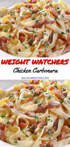 Chicken Carbonara Pasta Recipe [video] Sweet and Savory Meals Healthy Recipes Skinny Recipes, Ww Recipes, Pasta Recipes, Cooking Recipes, Recipies, Italian Food Recipes, Skinny Meals, Snacks Recipes, Waffle Recipes