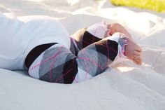 Black Gray and Neon Pink Argyle Ruffled Baby Leg by thelilredwagon, $5.95