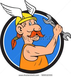 Illustration of a viking repairman holding spanner viewed from the side set inside circle on isolated background done in cartoon style.  #mechanic #cartoon #illustration